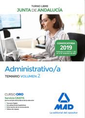 Administrativo de la Junta de Andalucía Turno Libre. Temario Volumen 2 de Ed. MAD