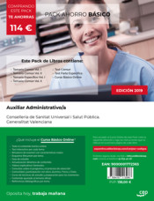 PACK AHORRO BÁSICO. Auxiliar Administrativo. Conselleria de Sanitat Universal i Salut Pública. Generalitat Valenciana de Ed. CEP