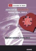 Temario, parte general y específica, Auxiliar de Enfermería. Grupo IV, Personal Laboral de la Comunidad de Madrid